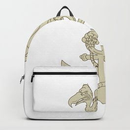 Buzzard Perching Navy Anchor Cartoon Backpack