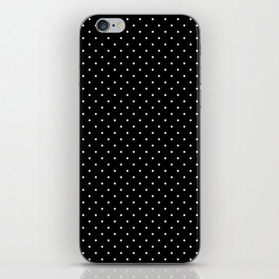 White polka dots on black iPhone & iPod Skin