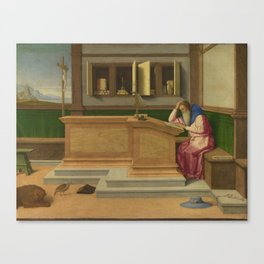 Saint Jerome in his Study by Vincenzo Catena. Canvas Print