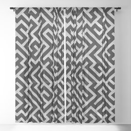 Maze -Black and Silver- Sheer Curtain
