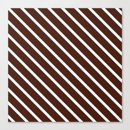 Cocoa Diagonal Stripes Canvas Print