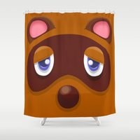 animal crossing Shower Curtains featuring Animal Crossing Tom Nook by ZiggyPasta