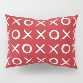 kisses and hugs // white on red Pillow Sham