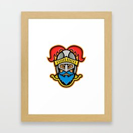 Knight Head Front Mascot Framed Art Print