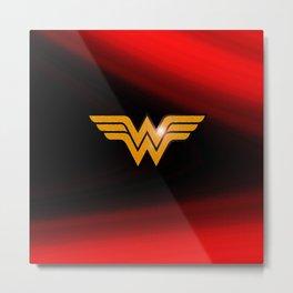WonderWoman emblem insígnia Wonder, Red, Gold, Diana Prince, warrior princess of the Amazons Metal Print