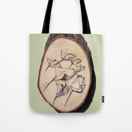 Devil Ray Wood Slice Tote Bag