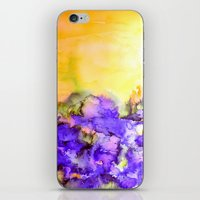jazzberry iPhone & iPod Skins featuring INTO ETERNITY, YELLOW AND LAVENDER PURPLE Colorful Watercolor Painting Abstract Art Floral Landscape by EbiEmporium