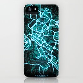 Mannheim, Germany, Blue, White, Neon, Glow, City, Map iPhone Case