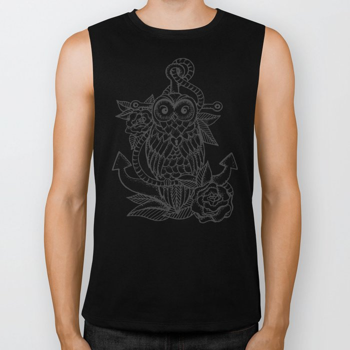 owl, roses & anchor Biker Tank