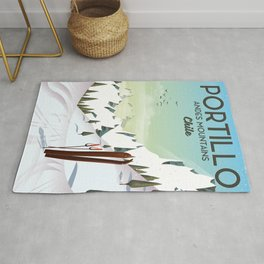 Portillo Ski Chile Ski travel poster. Rug