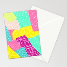 Modern summer rainbow color block hand drawn patchwork pattern illustration Stationery Cards