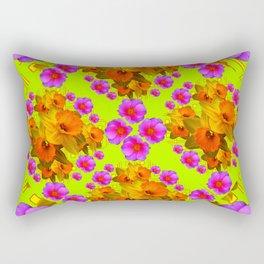 Chartreuse Color Golden Daffodil Rose Art Rectangular Pillow