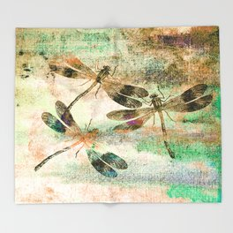 Mauritius Vintage Dragonflies QR Throw Blanket