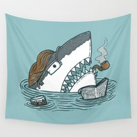 dad Wall Tapestries featuring The Dad Shark by Nick Volkert