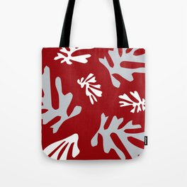 Matisse Silver & Red Holiday Leaves Tote Bag