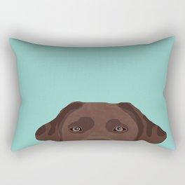 Chocolate Lab dog breed portrait pet art dog lover gifts labrador retriever Rectangular Pillow