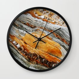 Gray Copper Marbled Petrified Wood Wall Clock