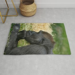 Gorilla Lope Resting His Head Rug
