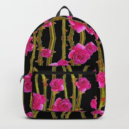 "FUCHSIA PINK ""ROSES & THORNS""  BLACK ART PATTERNS Backpack"