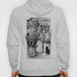 Three Wise Zombies Grayscale Hoody