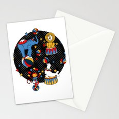 Little Circus Stars on Black Stationery Cards