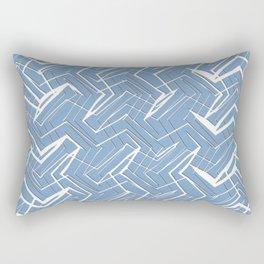 Blue and White Rectangular Pillow