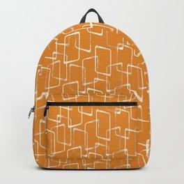 Retro Orange Lino Print Geometric Pattern Backpack