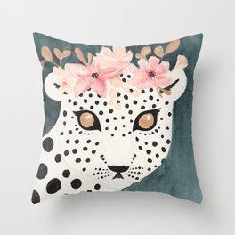 Flower Crown Leopard Throw Pillow