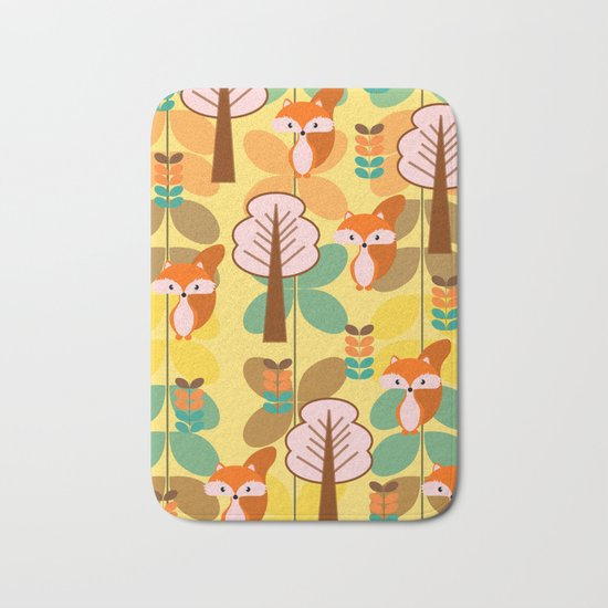 Foxes in the forest Bath Mat