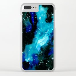 Drench - Vibrant Blue Nebula Clear iPhone Case