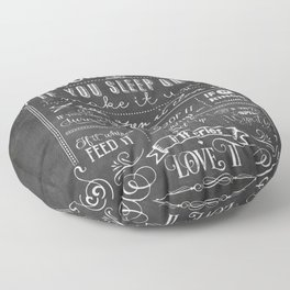 House Rules Retro Chalkboard Floor Pillow