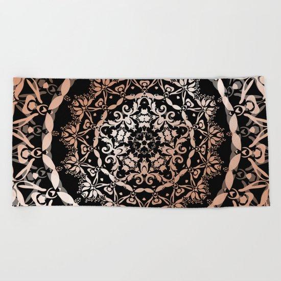 Rose Gold Black Damask Mandala Beach Towel