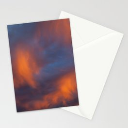 orange light on cirrus clouds and blue sky Stationery Cards