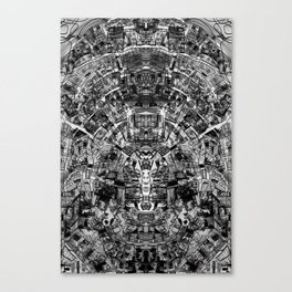 Mirrored Black and White Cityplan Canvas Print