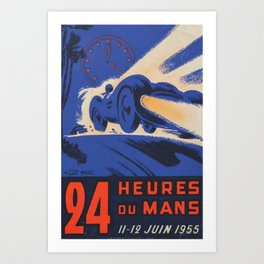1955 Le Mans poster, vintage car poster, Le Mans poster, Art Print