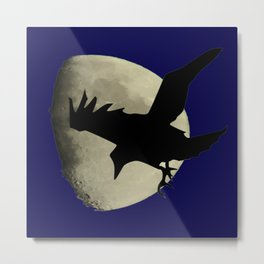 Raven Flying Across The Moon Metal Print