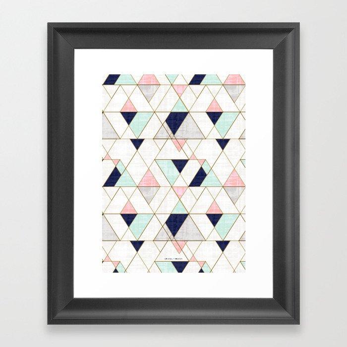 Mod Triangles - Navy Blush Mint Framed Art Print