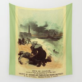 Vintage French drowned sailors charity advertising Wall Tapestry