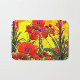 MODERN TROPICAL FLOWERS GARDEN DESIGN IN YELLOW-ORANGE COLORS Bath Mat