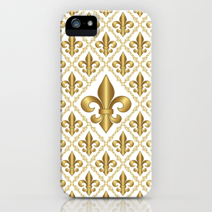 Studio Dalio - Gold Fleur-de-Lis Pattern iPhone Case