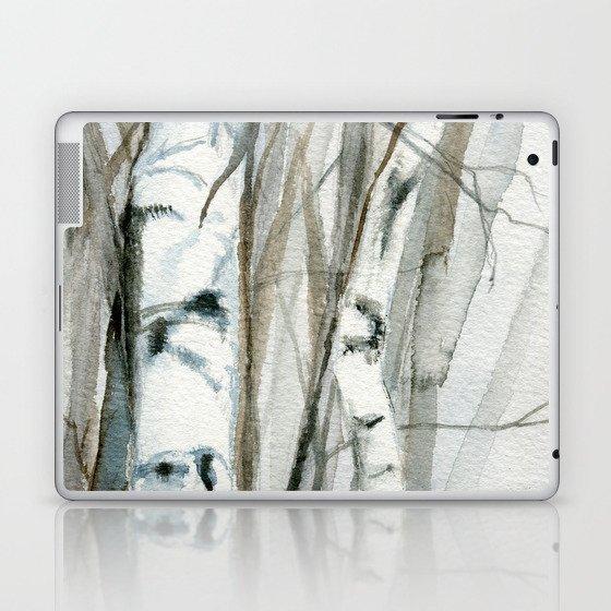 Winter Birch Trees Woodland Watercolor Original Art Print Laptop & iPad Skin