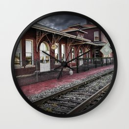 Old Train Station with Crossing Sign in Gutherie Oklahoma No.0840 A Fine Art Railroad Landscape Phot Wall Clock