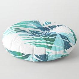 Geometric Palm Leave - blue & green Floor Pillow
