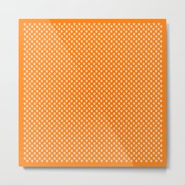 Tiny Paw Prints Pattern - Bright Orange & White Metal Print