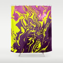 Yellow, Purple and Pink Intertwine; Fluid Abstract 50 Shower Curtain