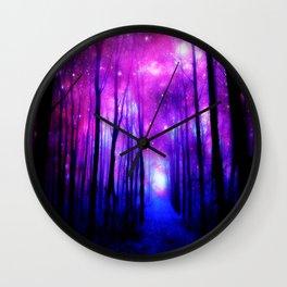 Magical Forest Path Fuchsia Purple Blue Wall Clock
