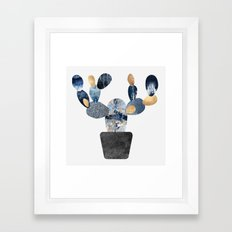 Blue & Gold Cactus Framed Art Print