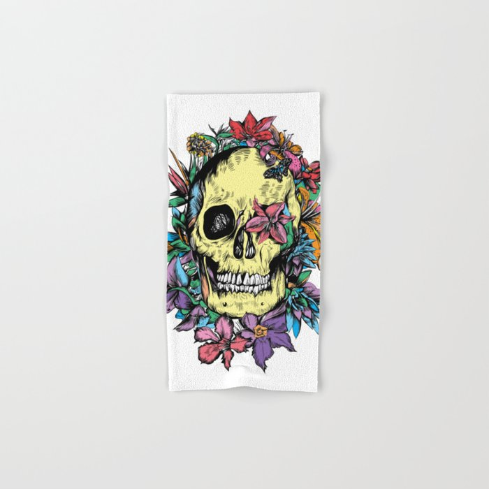 floral skull colorful drawing Hand & Bath Towel