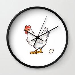 Funny Hen Chicken Gift Chicken Poops Breakfast Design Wall Clock
