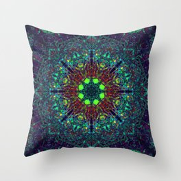 Mandala Glitch Stained Glass 2 Throw Pillow